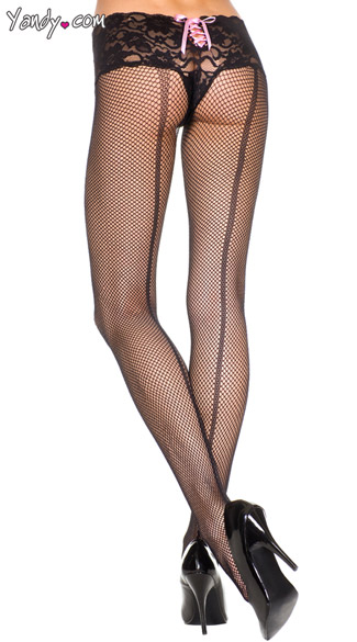 Lace Top Fishnets with Backseam, Fishnet Pantyhose, Fishnet Tights