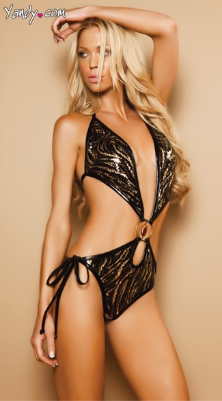 Sequin Monokini With Keyhole Cut Out