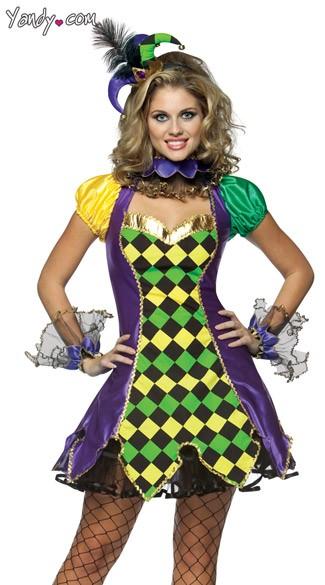 Mardi Gras Jester Costume - Purple/Gold/Green