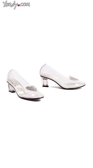 Heart of Glass Kitten Heels - Clear W/Silver