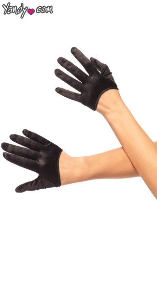 Mini Cropped Satin Gloves - Black