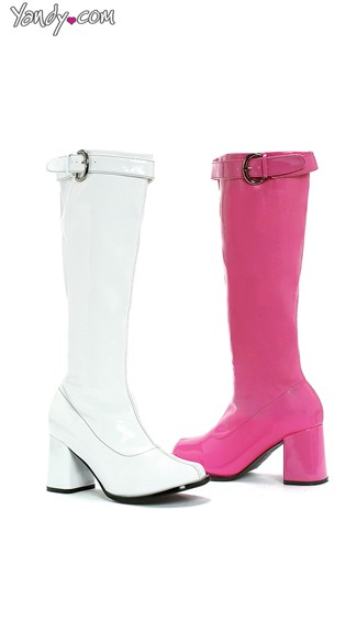 Wet Look Go Go Boots with Zipper, Cheap Boots for Women, Womens Knee High Boots
