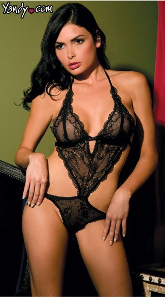 Lace Front Tie Back Teddy - Black