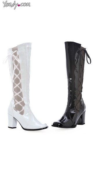 Cut Out Wet Look Boots with Lace Up Sides - White