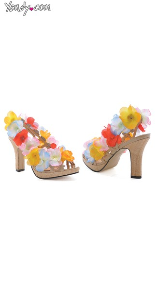 Floral Sandal with 4 Inch Heel - Multi-Color