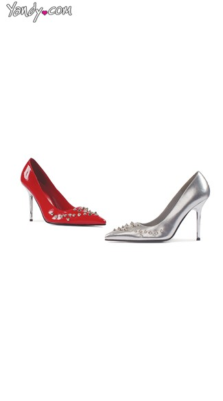 Spiked Patent Pump, Womens High Heels, Spiked Heel Shoes
