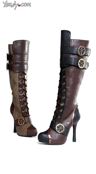 Sexy Steampunk Lace Up Stiletto Boot - Brown