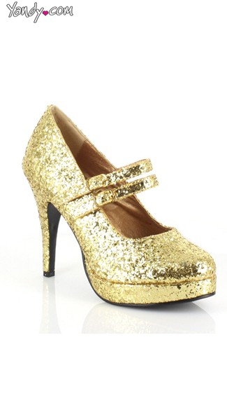 Mary Jane Platform Pump with Double Straps - Gold Glitter