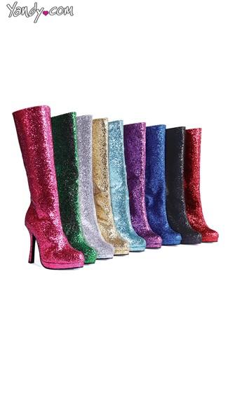 Disco Glitter Go-Go Boots - Fuchsia W/Glitter