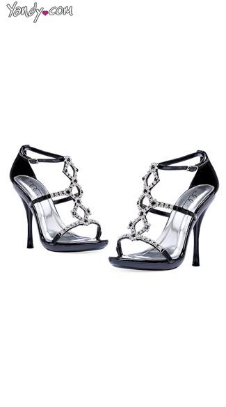 Strappy Rhinestone High Heels - Black
