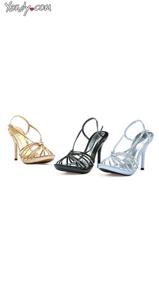 Evening Romance Strappy Stiletto with Rhinestones, Heels For Women, Silver Bridal Shoes