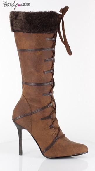 Winter Escape Faux Fur Stiletto Boot - Brown