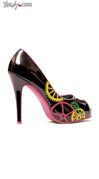 Gear Up Black and Pink Trimmed Pump, Cheap Pumps, Pumps and Heels