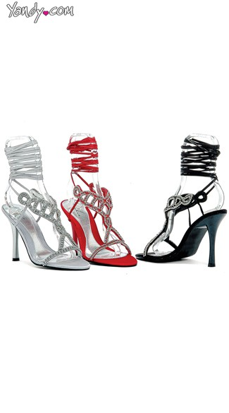 Strappy Leg Wrap Evening Sandals with Rhinestones, Cheap High Heels, Prom Shoes