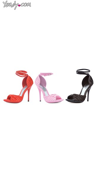 Ruched Satin Peep Toe Sandal, Cheap Heels, Red Satin Shoes