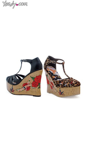 Tatted Up T-Strap Cork Wedge, Cheap Wedge Shoes, Wedge Heel Shoes