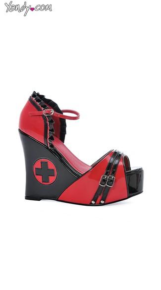 Sassy Medic Open Toe Wedge Sandal - Black