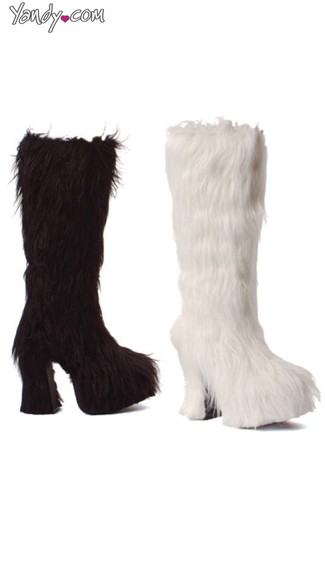 Shaggy Faux Fur Knee High Boots with Chunky Heel - Black