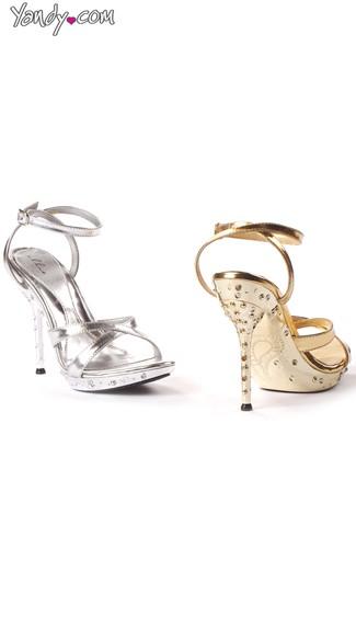 Criss-Cross Metallic Sandal with Rhinestone Heel - Silver