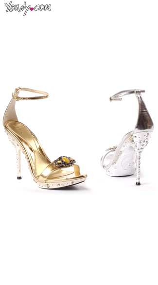 Rhinestone Sandal with Open Toe and Jewel Detail, 5 Inch Heel, Strappy Sandal for Women