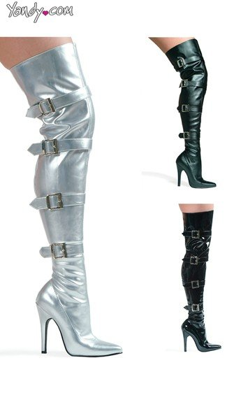 Can't Touch This Thigh High Stretch Boot - Silver