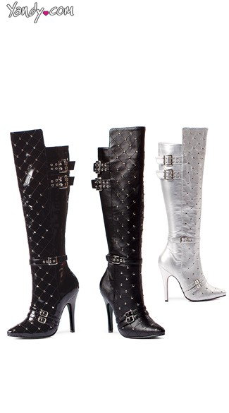 Quilted Knee High Studded Boot with Buckles, High Heel Boots, Costume Boots for Women