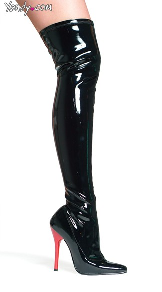Wet Look Thigh High Stretch Boot with Red Heel, High Heel Boots, Hot Sexy Shoes