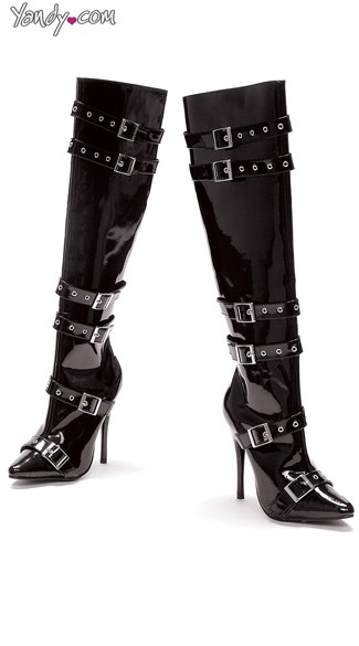 Buckle Me Tight Knee High Boots, Fashion Boots, Black Leather Boots