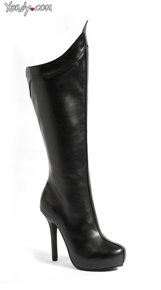 Faux Leather Platform Boot with Curved Rim, Knee High Boots, Platform Shoes