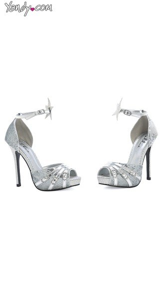 Shine On Open Toe Sandal With Star Accents - Silver Glitter