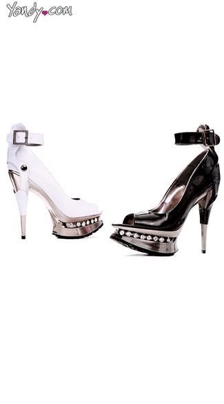 Peep Toe Pump with Cuff and Chrome Heel - Black