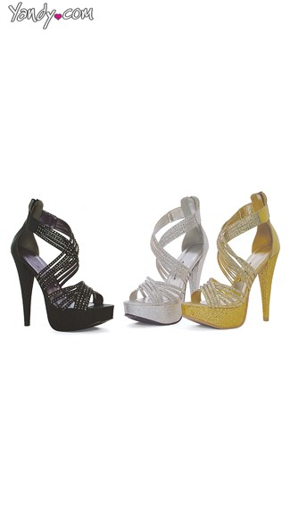 Criss Cross Glitter Platform Sandal, Rhinestone High Heels, Bridesmaid Shoes
