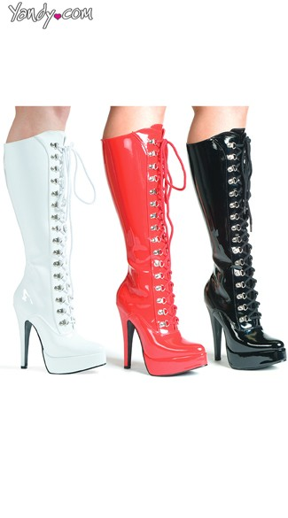 Keep It Tight Platform Lace Up Boots, Red Patent Leather Boots, High Heel Boots