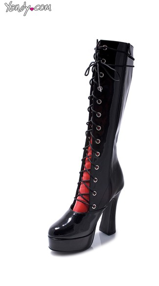 Glossy Platform Boot with Contrasting Tongue Flap - Black