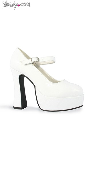 Chunky Heel Mary Jane Platform Pump - White