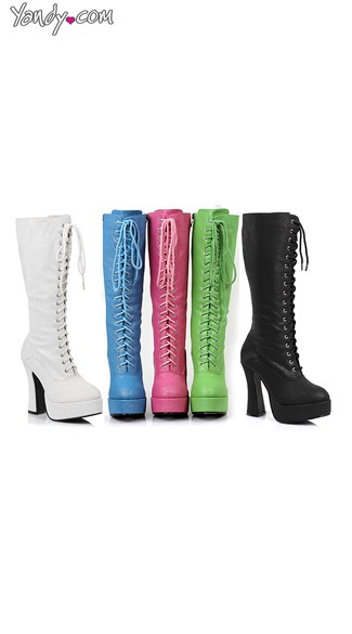 "5"" Shimmer Lace Up Boot, Lace Up Knee High Boots - Yandy.com"