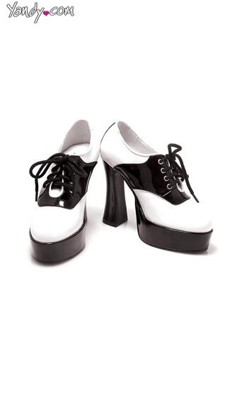 Black and White Chunky Saddle Pump - Black W/White