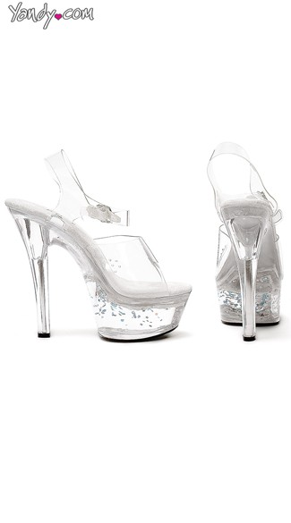 Shine On Clear Sandal with Floating Stars, 6 Inch Heel, Platform Sandals