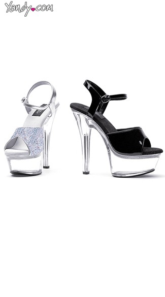 Ankle Strap Sandal with Clear Platform and Heel - Black On Clear