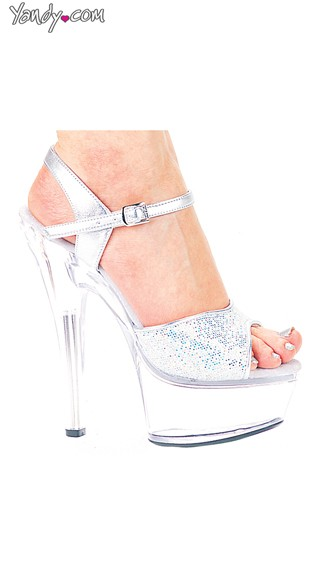 Glitter Showgirl Strappy High Heel Sandal, Sexy Platform Shoes, Silver Glitter Shoes