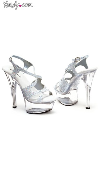 Sexy Glitter Weave Sandal with Clear High Heel Platform - Silver Glitter