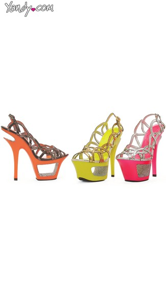 Neon Strappy Sandal with Rhinestones, Dress Shoes for Women, Sexy High Heel Shoes