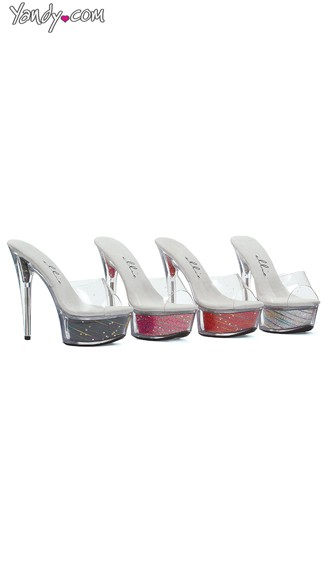 Glitter Stiletto Sandals With Star Struck Platform - as shown