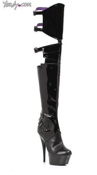 Cut Out Thigh High Buckle Boots - Black