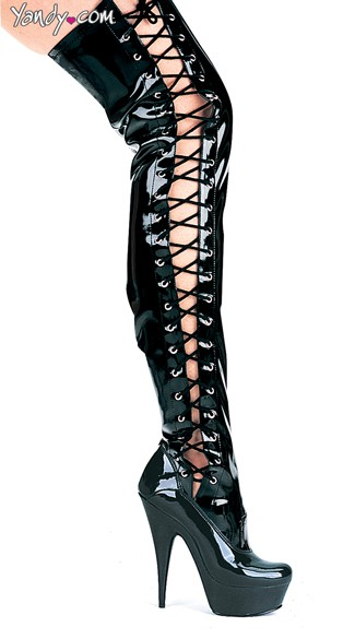 Stretch Thigh High Boots with Lace Up Sides - Black