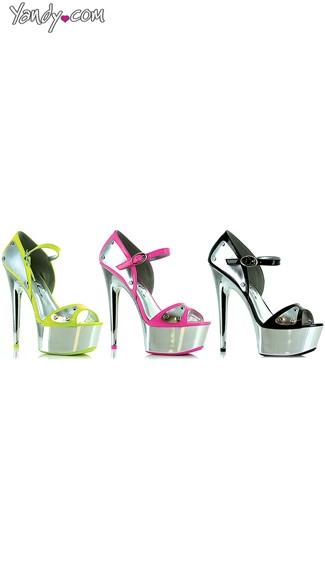 Metallic Platform Sandals with Contrast Trim - as shown