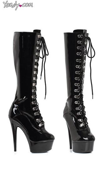 Lace Up Knee High Platform Boots - Black