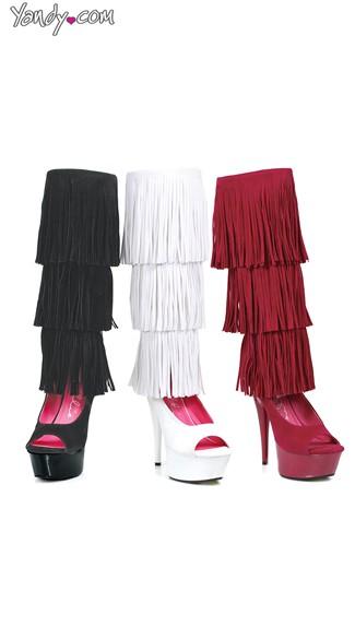Layered Fringe Velvet Knee High Boots - as shown