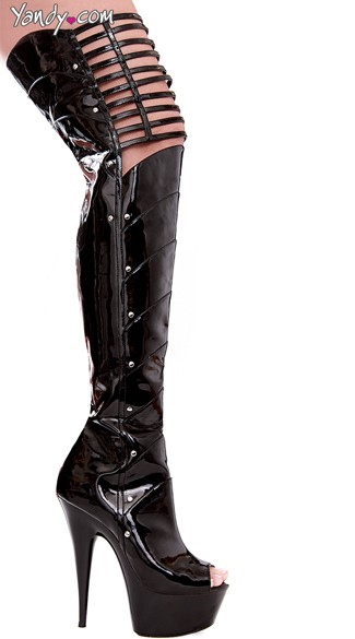 Peep Toe Thigh High Boots with Knee Cut Outs - Black