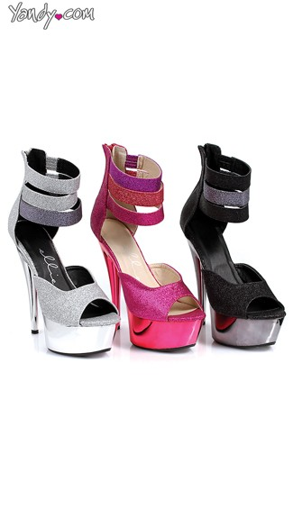 Glitter Platform Sandals with Strappy Ankle Straps - as shown
